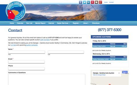 Screenshot of Contact Page gcautoauction.com - Contact Georgia - Carolina Auto Auction | Commerce, GA - captured Oct. 2, 2014
