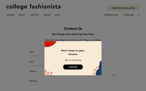 Screenshot of Contact Page collegefashionista.com - Contact Us - College Fashionista - captured July 19, 2018