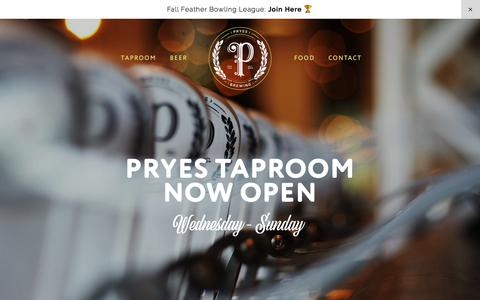 Screenshot of Home Page pryesbrewing.com - Pryes Brewing Company - captured Sept. 19, 2017