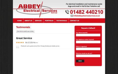 Screenshot of Testimonials Page abbeyelectricalservices.co.uk - Testimonials | Abbey Electrical Services - Hull - captured Nov. 2, 2014