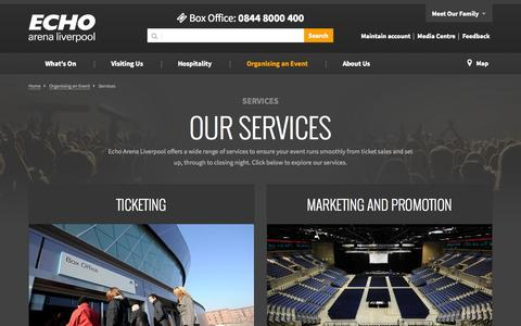 Screenshot of Services Page echoarena.com - Services - Organising an Event | Echo Arena Liverpool - captured Oct. 1, 2014