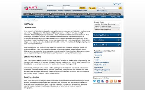 Screenshot of Jobs Page platts.com - Platts Careers, Opportunities, Editorial, Energy Jobs - Platts - captured Sept. 19, 2014
