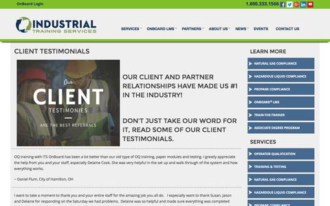 Screenshot of Testimonials Page its-training.com - Industrial Training Services Client Testimonials - captured Nov. 19, 2016