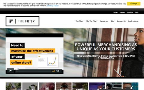 Screenshot of Home Page thefilter.com - The Filter - A Creative eCommerce Merchandising Suite - captured April 25, 2017