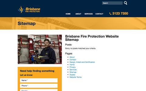 Screenshot of Site Map Page brisfire.com.au - Sitemap | Brisbane Fire ProtectionBrisbane Fire Protection - captured Feb. 8, 2016
