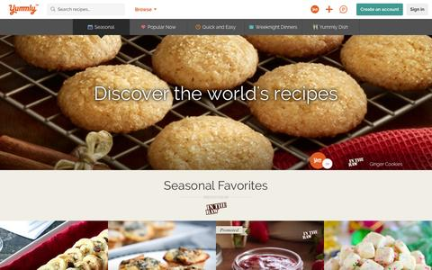 Screenshot of Home Page yummly.com - The Best Site For Recipes, Recommendations, Food And Cooking | Yummly - captured Dec. 14, 2015