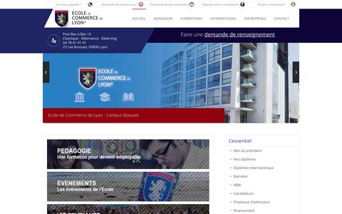 Screenshot of Home Page ecole-de-commerce-de-lyon.fr - Ecole de Commerce de Lyon - Formations Bachelor et MBA à Lyon - ECL - - captured May 14, 2017