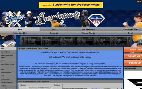 Screenshot of Menu Page irondequoitlittleleague.org - Irondequoit Little League - captured Sept. 22, 2018