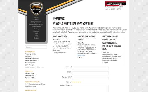 Screenshot of Testimonials Page autoshield-protection.co.uk - Autoshield protection  | REVIEWS - captured Oct. 5, 2014