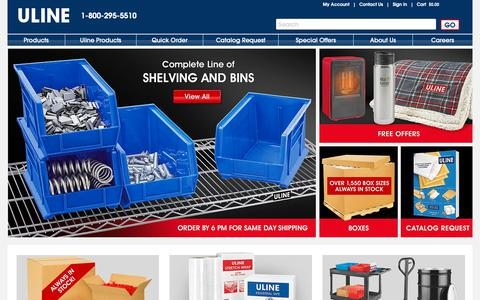 Screenshot of Home Page uline.com - ULINE - Shipping Boxes, Shipping Supplies, Packaging Materials, Packing Supplies - captured Feb. 7, 2019