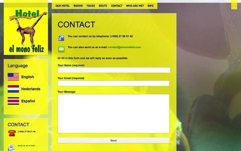 Screenshot of Contact Page elmonofeliz.com - contact us - captured Nov. 2, 2014