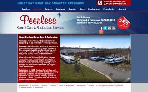 Screenshot of About Page peerlessva.com - About Peerless  | Fire and Water Restoration, Carpet Cleaning, Mold Remediation, Construction in Greater Hampton Roads| Peerless Carpet Care & Restoration - captured Sept. 29, 2015