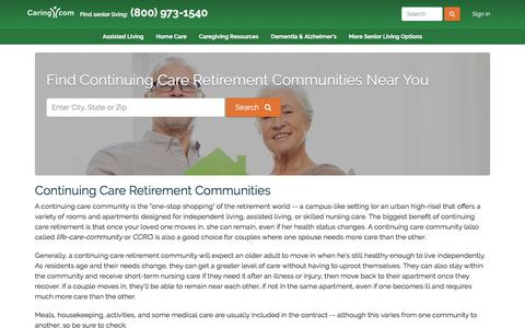 Screenshot of caring.com - Find Continuing Care Retirement Communities Near You - Caring.com - captured Dec. 26, 2017