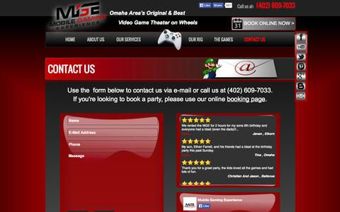 Screenshot of Contact Page mobilegamingexperience.com - Omaha's Original Video Game Theater on Wheels Contact Mobile Gaming Experience - Book Your Party - captured Oct. 7, 2014