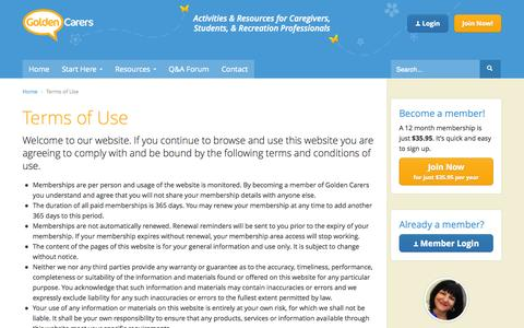 Screenshot of Terms Page goldencarers.com - Golden Carers Terms of Use - captured Sept. 30, 2014