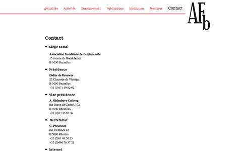 Screenshot of Contact Page association-freudienne.be - Association Freudienne de Belgique / AFB - Contact - captured June 1, 2016