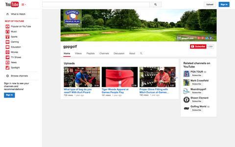 Screenshot of YouTube Page youtube.com - gppgolf  - YouTube - captured Oct. 22, 2014