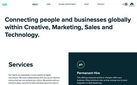 Screenshot of About Page welovesalt.com - About Salt - London's Top Digital Recruitment Agency - captured Nov. 13, 2016