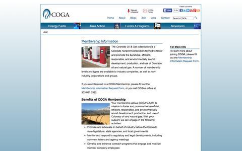 Screenshot of Signup Page coga.org - Colorado Oil & Gas Association - captured Oct. 2, 2014