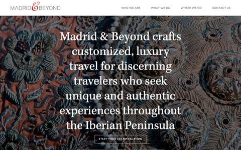 Screenshot of Home Page madridandbeyond.com - Luxury Travel Agency Spain and Madrid|Custom Private Tours | M&B - captured June 24, 2019