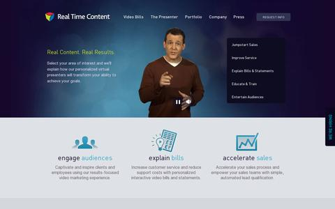 Screenshot of Home Page realtimecontent.com - Real Time Content: Personalized Video Marketing - captured July 11, 2014