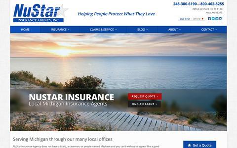 Screenshot of Home Page nustarinsurance.net - NuStar Insurance Agency in Michigan - captured Oct. 19, 2018