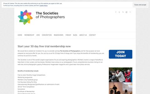 Screenshot of Trial Page thesocieties.net - Start your 30 day free trial membership now - The Societies of Photographers | International Photography Organisation - captured Nov. 7, 2018