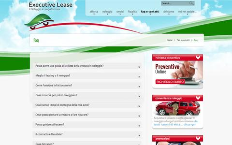 Screenshot of FAQ Page executivelease.it - Faq | Executive Lease - captured Sept. 30, 2014