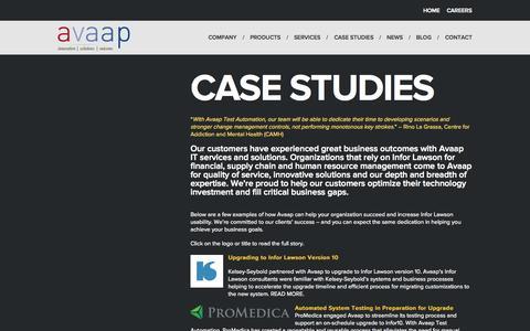 Screenshot of Case Studies Page avaap.com - Case Studies - AVAAP - captured Nov. 17, 2015
