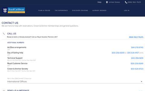 Screenshot of Contact Page royalcaribbean.com captured April 3, 2019
