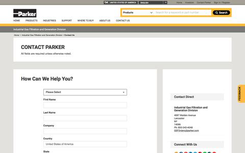 Screenshot of Contact Page parker.com - Industrial Gas Filtration and Generation Division - Parker - captured Sept. 11, 2019