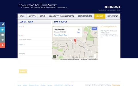 Screenshot of Privacy Page Contact Page consultingforfoodsafety.com - Get Started with SQF or BRC Certification - captured Oct. 22, 2014