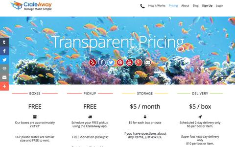 Screenshot of Pricing Page crateaway.com - Pricing - captured July 17, 2016