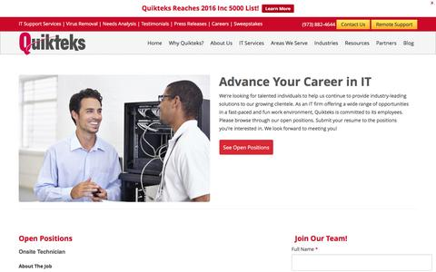 Screenshot of Jobs Page quikteks.com - Careers   Employment Opportunities   Quikteks - captured Nov. 16, 2016