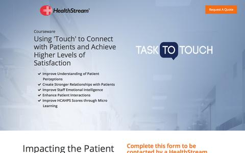 Screenshot of Landing Page healthstream.com - Task To Touch - captured April 25, 2018