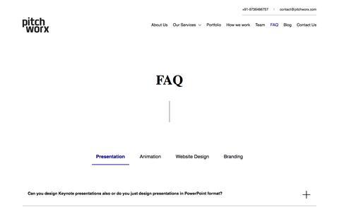 Screenshot of FAQ Page pitchworx.com - Pitchworx - FAQ - captured Nov. 14, 2019