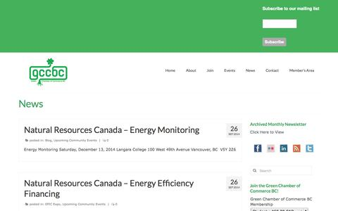 Screenshot of Press Page greenchamberofcommercebc.org - News | Green Chamber of Commerce BC - captured Sept. 30, 2014