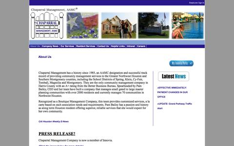 Screenshot of About Page chaparralmanagement.com - Chaparral Management Company - Homeowners associations management - captured Oct. 2, 2014