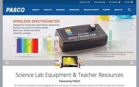 Screenshot of Home Page pasco.com - PASCO scientific | Science Lab Equipment and Teacher Resources - captured Dec. 17, 2019