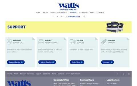 Screenshot of Support Page wattscopy.com - Support - Watts Copy Systems - captured Oct. 19, 2018