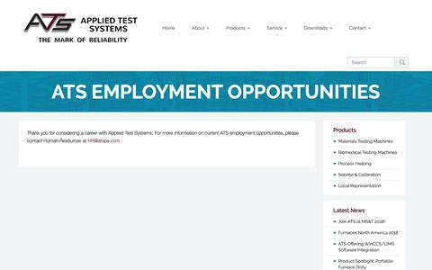 Screenshot of Jobs Page atspa.com - ATS Employment Opportunities | Applied Test Systems - captured Dec. 18, 2018