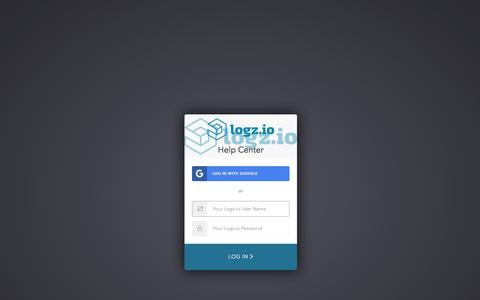 Screenshot of Support Page auth0.com - Sign In to Logz.io Help Center - captured April 21, 2018