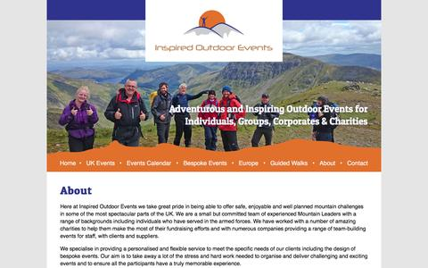 Screenshot of About Page inspired-outdoors.co.uk - About - Inspired Outdoor EventsInspired Outdoor Events - captured Jan. 22, 2017