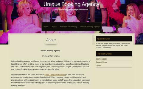 Screenshot of About Page uniquebookingagency.com - About | Unique Booking Agency - captured Oct. 9, 2014