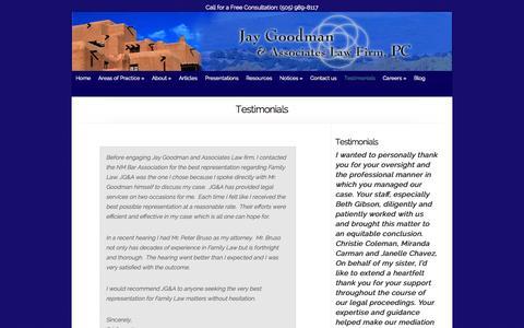 Screenshot of Testimonials Page jaygoodman.com - Testimonials - Family Law Call (505) 989-8117 - captured Oct. 6, 2014