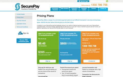 Screenshot of Pricing Page securepay.com.au - SecurePay - Pricing Plans - captured Sept. 24, 2014