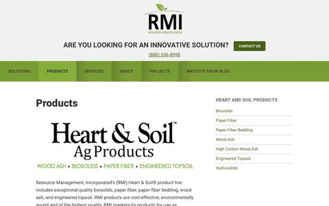 Screenshot of Products Page rmirecycles.com - Products | Resource Management Inc. - captured Oct. 22, 2017