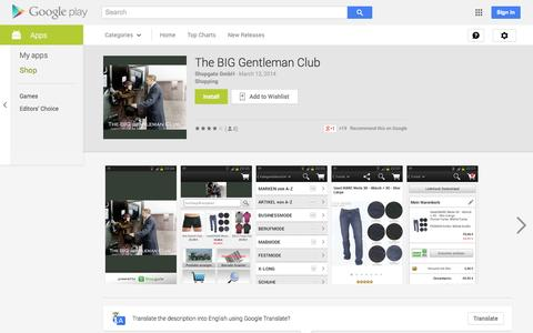 Screenshot of Android App Page google.com - The BIG Gentleman Club - Android Apps on Google Play - captured Oct. 26, 2014