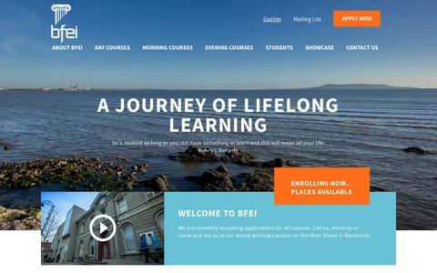 Screenshot of Home Page bfei.ie - Blackrock Further Ed Inst - captured Sept. 12, 2015