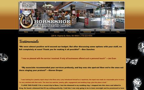 Screenshot of Testimonials Page jewelryman.com - Testimonials | Reno Nevada Diamond Gold Jewelry Repair 775-323-4554 Store - captured Oct. 3, 2014